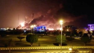 Huge fires at Saudi Aramco oil facilities after alleged drone attacks